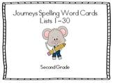 Journeys Second Grade Spelling Lists 1-30 Word Cards and M