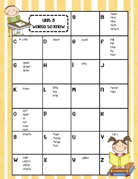 Journeys First Grade High Frequency Word Lists
