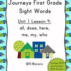 Journeys First Grade Sight Words Unit 1 Lesson 4