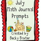 July Math Journal Prompts- Kindergarten C.C.