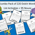 Jumbo Activity Pages for 220 Dolch Words and 95 Nouns