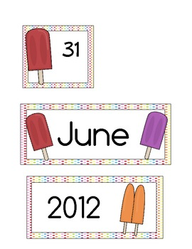 June Calendar Cards * Free * celebrate Ice Cream & Summer
