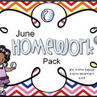 June Homework Pack for Kindergarten
