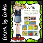 June Math &amp; Literacy Color by Codes