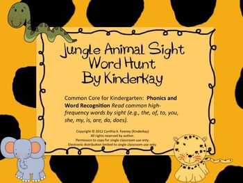 Jungle Animal Sight Word Hunt