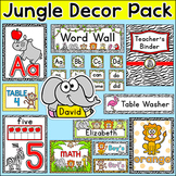 Jungle Animals Classroom Theme Pack - Word Wall, Posters,