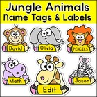 Jungle Animals Theme Classroom  - Name Tags and Labels - Editable