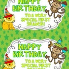 Jungle Birthday Certificate & Gift Tags for Students