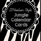 Jungle Themed Calendar Cards - D'Nealian