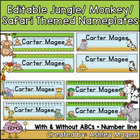Jungle/Monkey Themed Nameplate/Deskplate/Nametag