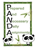 K-1 Classroom Start-Up Pack (PANDA Theme)
