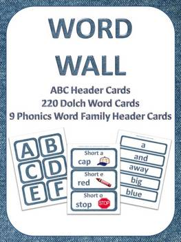 K-3 Word Wall Set w/ABC, Dolch Words, & Phonics (Word Fami