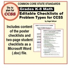 K-8 Math Checklists (Editable .DOC File) of Problem Types