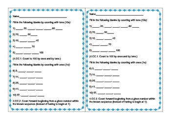 K Math Common Core Counting & Cardinality Math Centers