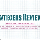 KEYNOTE Integers Review