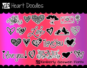 KG Heart Doodles Font: Personal Use