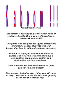Kaboom!!! Add and Subtract Decimals Game