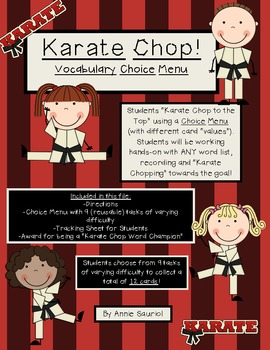 Karate Chop Vocabulary Choice Menu for ELA Literacy Statio