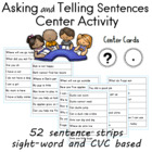 Kdg. - 1st Grade Center for Asking and Telling Sentences