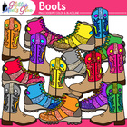 Kickin&#039; Cowboy &amp; Mountain Boots Clipart W/Glitter! Perfect