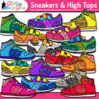 Kickin' High Tops & Sneakers Clipart W/ Glitter! Perfect 4