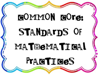 Kid Friendly Posters: Standards of Mathematical Practice