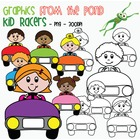 Kid Racers - Clip Art / Graphics for Teaching and Commercial Use