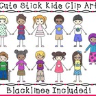 Kids Clipart - Cute Stick Kids Clipart
