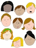 Kids in Action: Faces 1  Clip Art 18 pngs to Show Feelings
