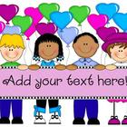 Kids with Heart! Commercial use clipart