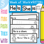 Kinder Writing Book - He is / She is - 5 Day Book - Halloween