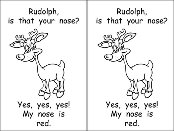 Kindergarten Christmas Emergent Reader- Rudolph's Nose- co