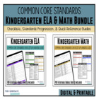 Kindergarten Common Core Documentation Checklists (ELA & M