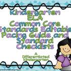 Kindergarten Common Core ELA Pacing Guide Checklist-Editable