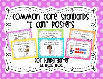 "Kindergarten Common Core ""I Can"" Posters (Bright Polka Dot)"