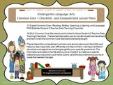 Kindergarten Common Core Language Arts Checklists and Drop