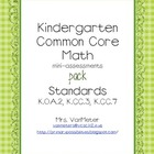 Kindergarten Common Core Math Assessments pack (K.OA.2, K.