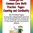 Kindergarten Common Core Math Practice- Counting and Cardinality