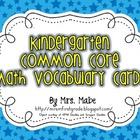 Kindergarten Common Core Math Vocabulary Cards