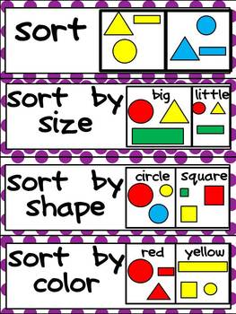 Kindergarten Common Core Math Vocabulary Word Wall Cards