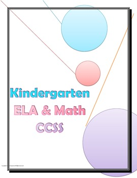 Common Core Checklist Kindergarten ELA and Math