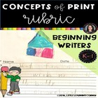 Kindergarten Concepts of Print Writing Rubric Checklist PA