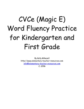 Kindergarten CVCe (Magic E) Words Practice