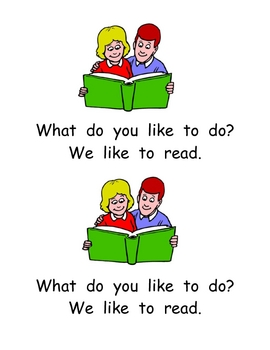 "Kindergarten Emergent Reader- ""What Do You Like to Do?"""