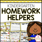 Kindergarten Homework Organization: Editable