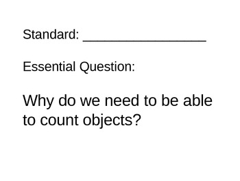 Kindergarten Math Essential Questions for Posting
