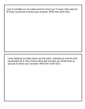 Kindergarten Math Journals-Addition and Subtraction Word Problems