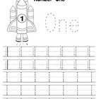 Kindergarten Math - Numbers 0-5 - Printing Practice - Space Theme