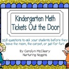 Kindergarten Math Tickets Out the Door