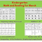 Kindergarten Math and Reading for March